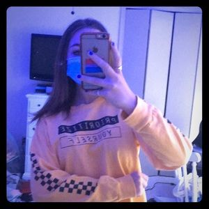 Yellow Long Sleeve Shirt With Black Wording